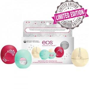 EOS 3 Pack Holiday Limited Edition Decorative Lip Balm Collection Набор состоит из 3-х смягчающих и увлажняющих бальзамов