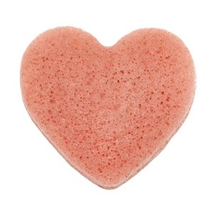 The Konjac Sponge Co Heart Puff Face Sponge With Rich Pink Clay Спонж конняку для лица в форме сердечка с розовой глиной