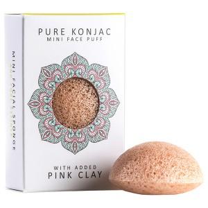 The Konjac Sponge Co Mini Face Puff With Added Pink Clay Мини-спонж конняку для лица с розовой глиной в подарочной упаковке