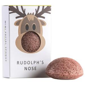 The Konjac Sponge Co Mini Face Sponge Rudolph's Nose Мини-спонж конняку для лица с красной глиной в подарочной упаковке