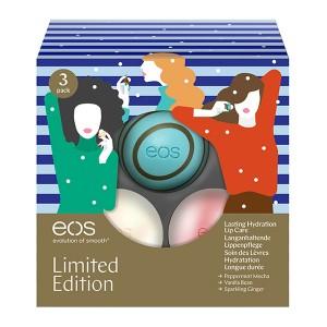 EOS 3 Pack Limited Edition Holiday Collection Лимитированный набор из 3-х смягчающих и увлажняющих бальзамов для губ