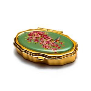 "Andrea Garland Lip Balm Vintage Inspired Pill Box with mirror - Birds and Flowers Бальзам для губ в футляре ""Птицы и цветы"""