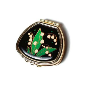 """Andrea Garland Lip Balm Vintage Inspired Pill Box with mirror - Lily of the Valley Бальзам для губ в футляре """"Ландыш"""""""