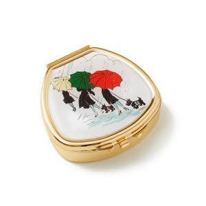 "Andrea Garland Lip Balm Vintage Inspired Pill Box - Parapluies and scotties Бальзам для губ в футляре ""Зонты"""