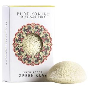 The Konjac Sponge Co Mini Face Puff With Added Green Clay Мини-спонж конняку для лица с зеленой глиной в подарочной упаковке
