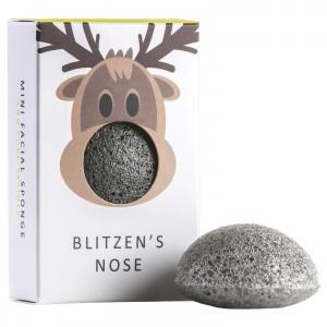 The Konjac Sponge Co Mini Face Sponge Blitzen's Nose Мини-спонж конняку для лица с бамбуковым углем в подарочной упаковке
