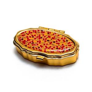 "Andrea Garland Lip Balm Vintage Inspired Pill Box - Red Floral Бальзам для губ в футляре ""Желтый цветочный орнамент"""